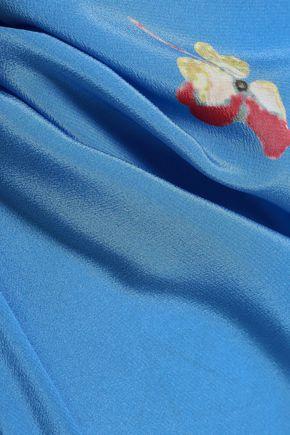 GANNI Joycedale floral-print washed-silk wide-leg pants