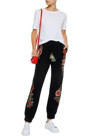 LOVE SAM Embroidered cotton-fleece track pants