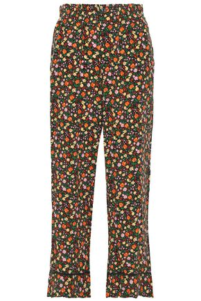 GANNI Joycedale floral-print washed-silk wide-leg pants