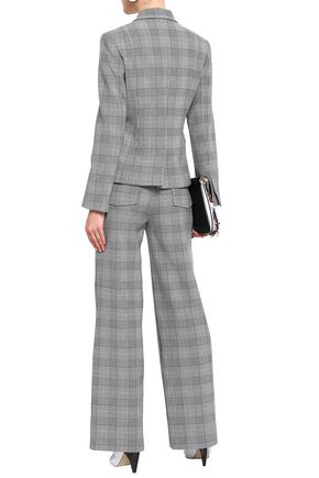 GANNI Leather-trimmed Prince of Wales checked jacquard wide-leg pants