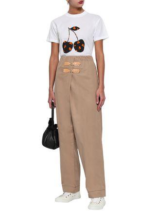 GANNI Cotton-gabardine wide-leg pants