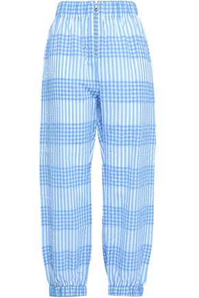 GANNI Charron gingham cotton-blend seersucker tapered pants