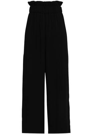 GANNI Clark cropped ruffle-trimmed crepe wide-leg pants