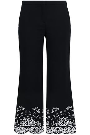 EMILIO PUCCI Cropped broderie anglaise cotton flared pants