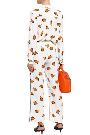 GANNI Roseburg floral-print washed-crepe wide-leg pants