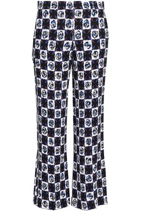 EMILIO PUCCI Cropped checked stretch-crepe wide-leg pants