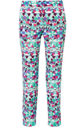 EMILIO PUCCI Cropped printed cotton-blend faille straight-leg pants
