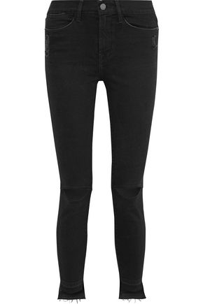 FRAME Le High distressed high-rise skinny jeans