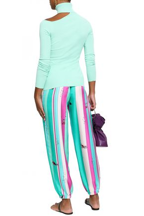 EMILIO PUCCI Printed silk-twill tapered pants