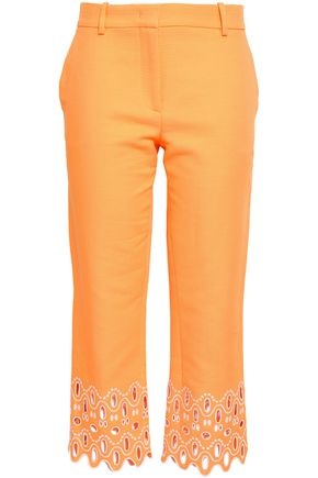 EMILIO PUCCI Broderie anglaise-trimmed cotton straight-leg pants