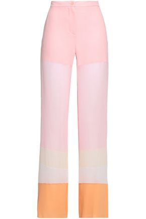 EMILIO PUCCI Color-block silk-chiffon wide-leg pants
