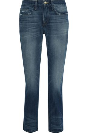 FRAME Le Boy distressed mid-rise slim-leg jeans