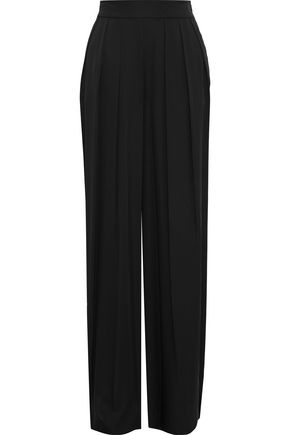 MILLY Tie-back pleated stretch-silk wide-leg pants