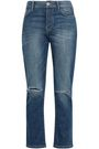 CURRENT/ELLIOTT Distressed faded high-rise straight-leg jeans