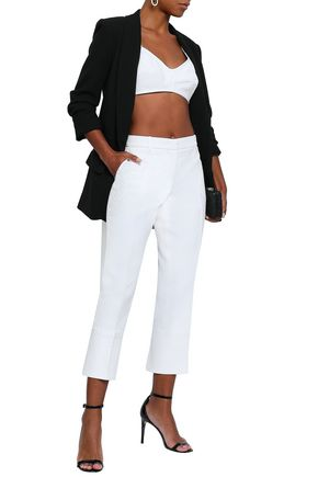 EMILIO PUCCI Satin-trimmed cotton, wool and silk-blend jacquard tapered pants