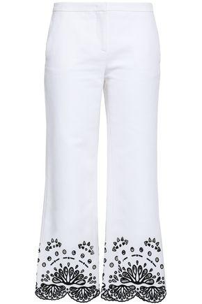 EMILIO PUCCI Broderie anglaise-trimmed cotton-piqué kick-flare pants
