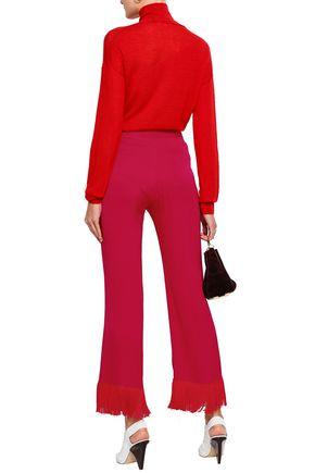 STELLA McCARTNEY Fringe-trimmed satin-crepe flared pants