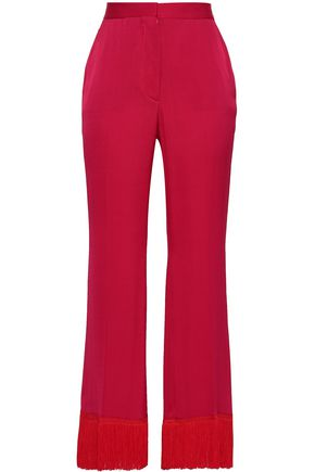 STELLA McCARTNEY Fringe-trimmed satin-crepe flared pants