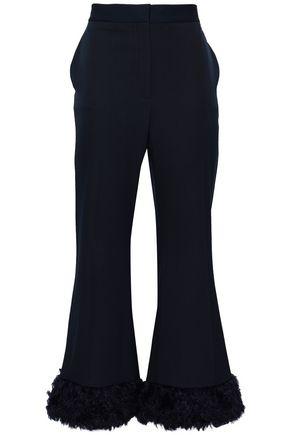STELLA McCARTNEY Faux fur-trimmed wool-twill flared pants