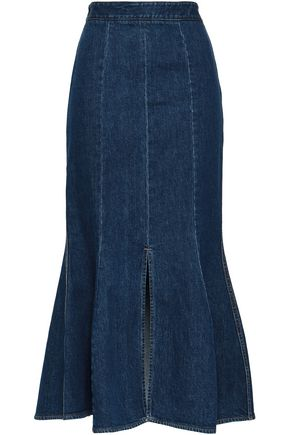 STELLA McCARTNEY Fluted denim midi skirt