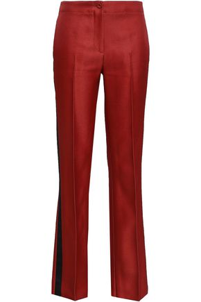 EMILIO PUCCI Satin-trimmed wool and silk-blend twill straight-leg pants