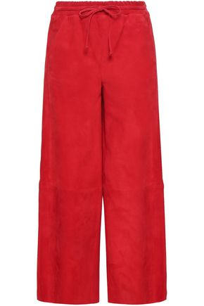 AMANDA WAKELEY Cropped suede wide-leg pants