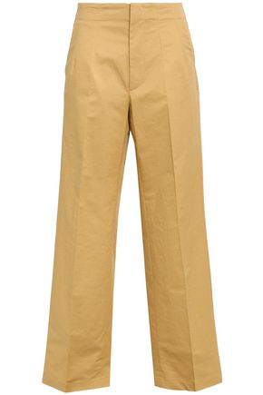 GENTRYPORTOFINO Slub cotton-blend wide-leg pants
