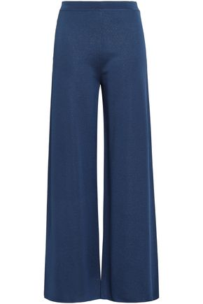 GENTRYPORTOFINO Metallic knitted wide-leg pants
