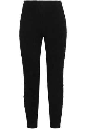 AMANDA WAKELEY Frayed striped suede slim-leg pants