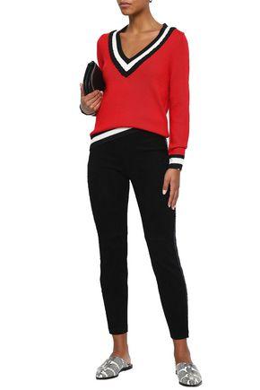 AMANDA WAKELEY Frayed striped suede slim-leg pants