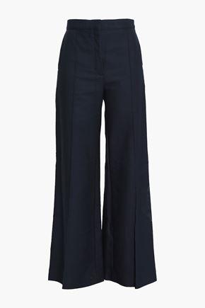 SANDRO Cotton-blend twill wide-leg pants