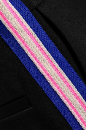 SANDRO Striped cropped jersey straight-leg pants
