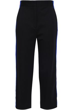 SANDRO Striped cropped jersey straight-leg pants
