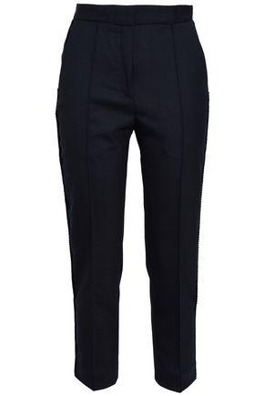 SANDRO Cropped twill slim-leg pants