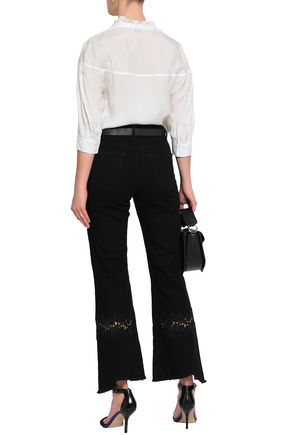 SANDRO Lace-trimmed high-rise kick-flare jeans