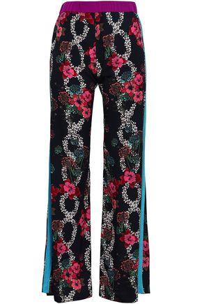 SANDRO Ewen striped floral-print woven wide-leg pants