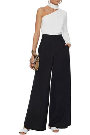 ROSETTA GETTY Layered crepe wide-leg pants