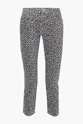 CURRENT/ELLIOTT The Fling leopard-print low-rise slim-leg jeans