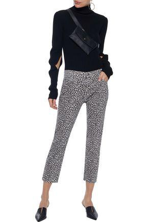 CURRENT/ELLIOTT The Fling leopard-print low-rise slim-leg jeans