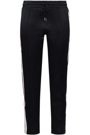 SANDRO Velvet-trimmed jersey tapered pants
