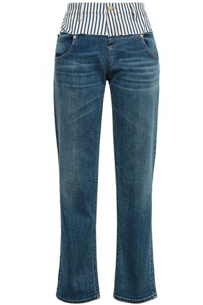 ROBERTO CAVALLI Paneled faded high-rise straight-leg jeans