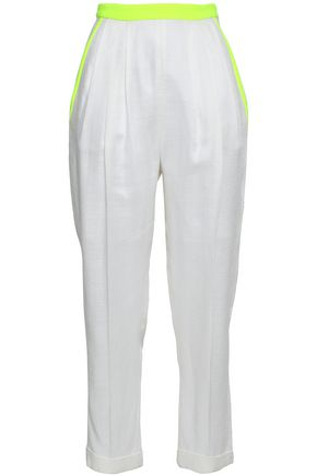 DELPOZO Cropped neon-trimmed pleated cotton tapered pants