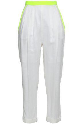 DELPOZO | Delpozo Woman Neon-trimmed Woven Tapered Pants White | Goxip