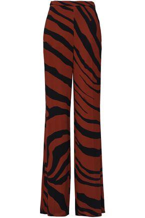 ROBERTO CAVALLI Zebra-print crepe wide-leg pants deb9cbdd3