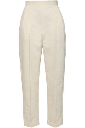 DELPOZO Pleated cotton-jacquard tapered pants
