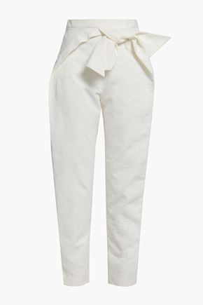 DELPOZO Cropped bow-embellished fil coupé cotton tapered pants