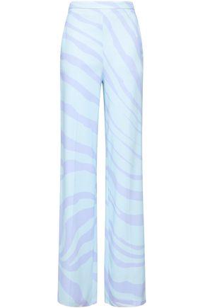 ROBERTO CAVALLI Zebra-print crepe wide-leg pants