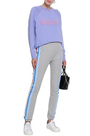 WILDFOX Striped French cotton-blend terry track pants