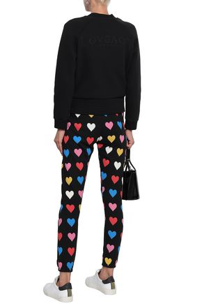 WILDFOX Printed French cotton-terry track pants
