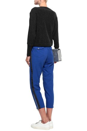 DKNY Grosgrain-trimmed twill slim-leg pants